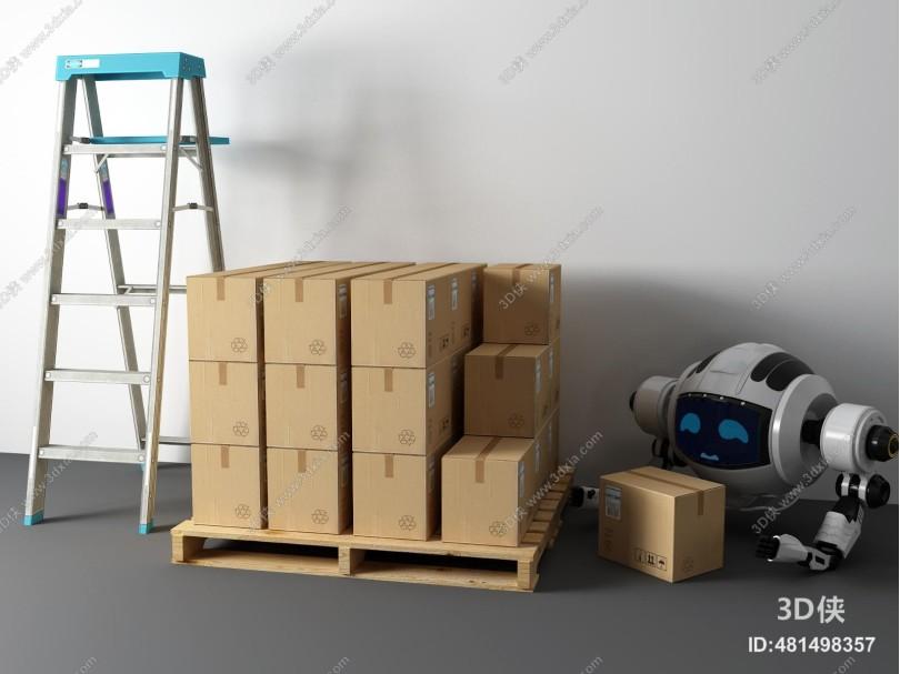 现代人字梯 包装箱 机器人