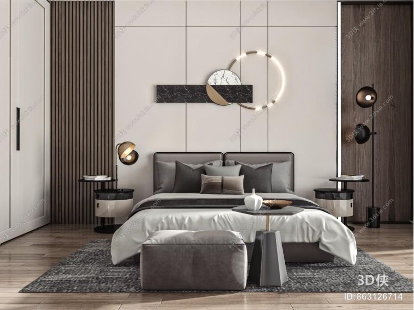 现代卧室 双人床 主人房