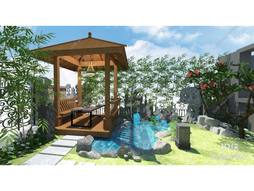 中式景观小品 庭院景观