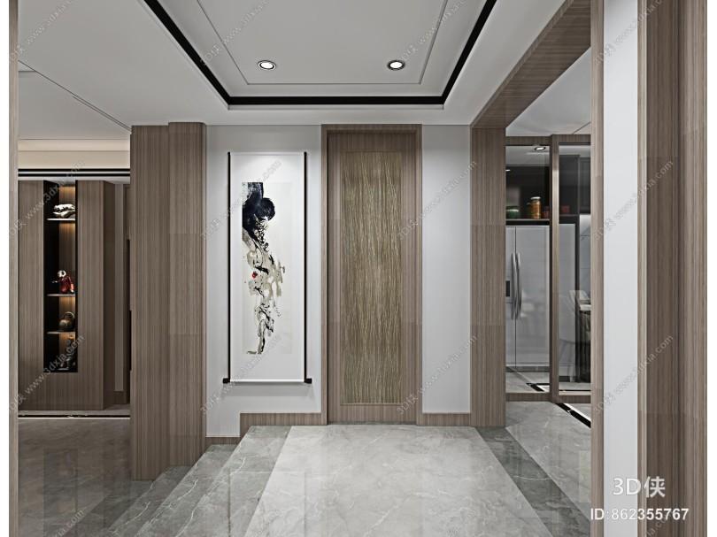 新中式楼梯间 木饰面踏步 玻璃扶手