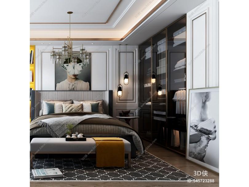 现代卧室 家具 床 软装 饰品摆件 衣柜