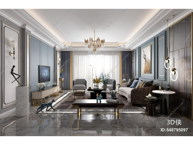 简欧客厅 组合沙发茶几 饰品