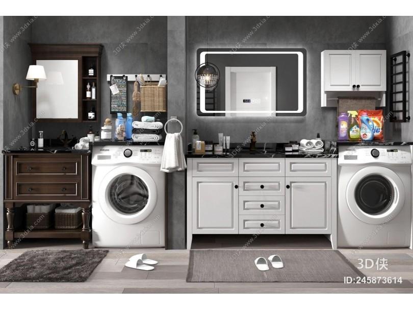 现代浴室柜 洗衣机伴侣 卫浴 配件组合