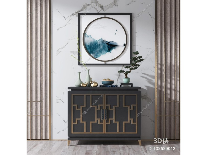 新中式实木边柜玄关柜摆件组合