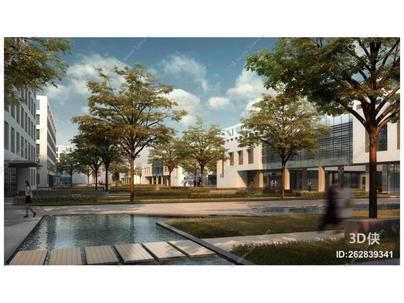 现代城市工业园区厂房 办公楼 建筑外观