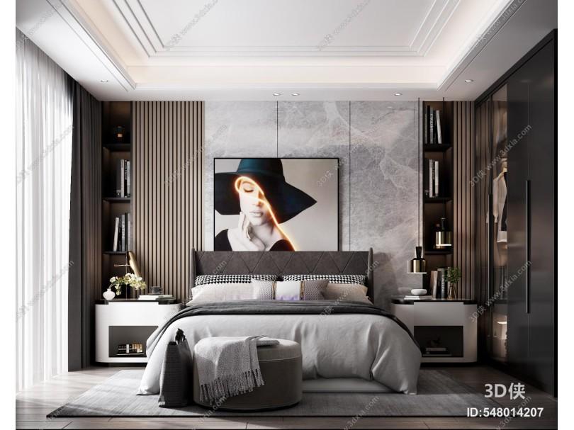 现代卧室 床 床头柜