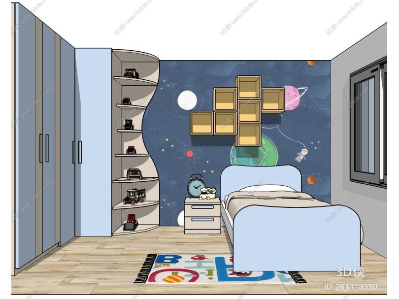 现代男孩儿童房