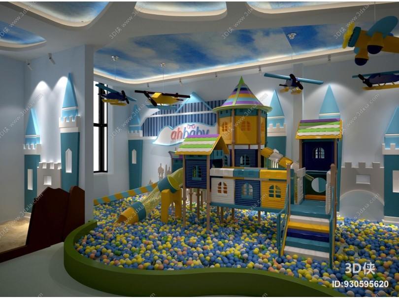 现代幼儿园游乐场海洋球城堡