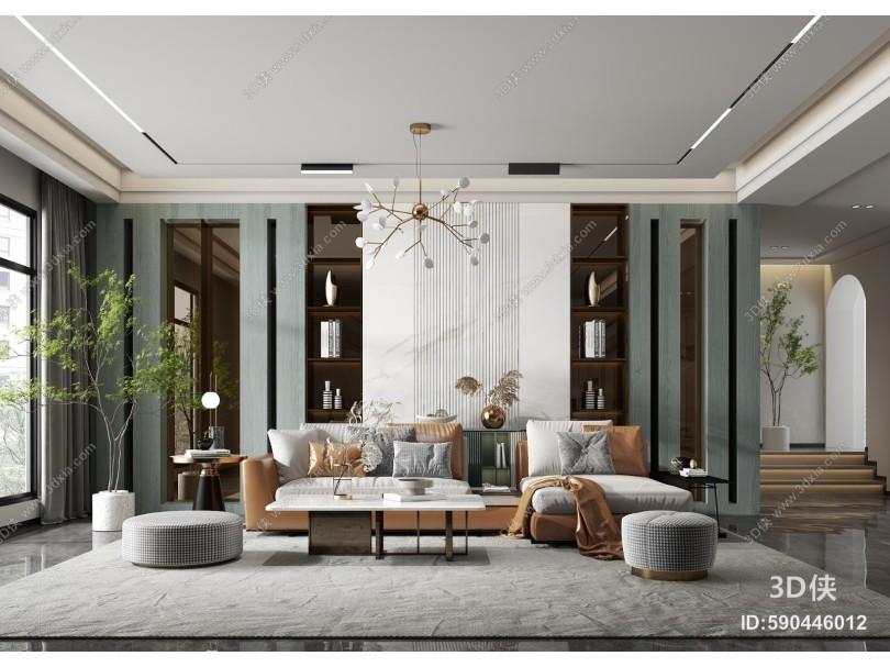 现代客厅 转角沙发 茶几