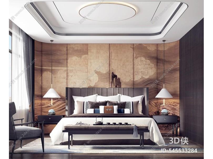 新中式卧室 床 衣柜