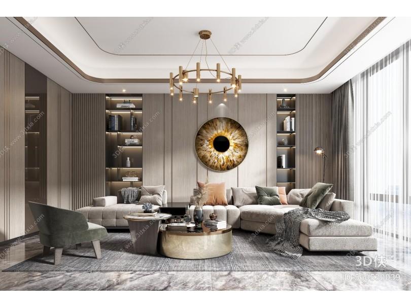 现代轻奢客厅 沙发 茶几