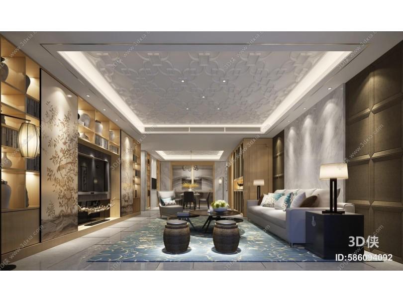 新中式客厅 沙发 摆件