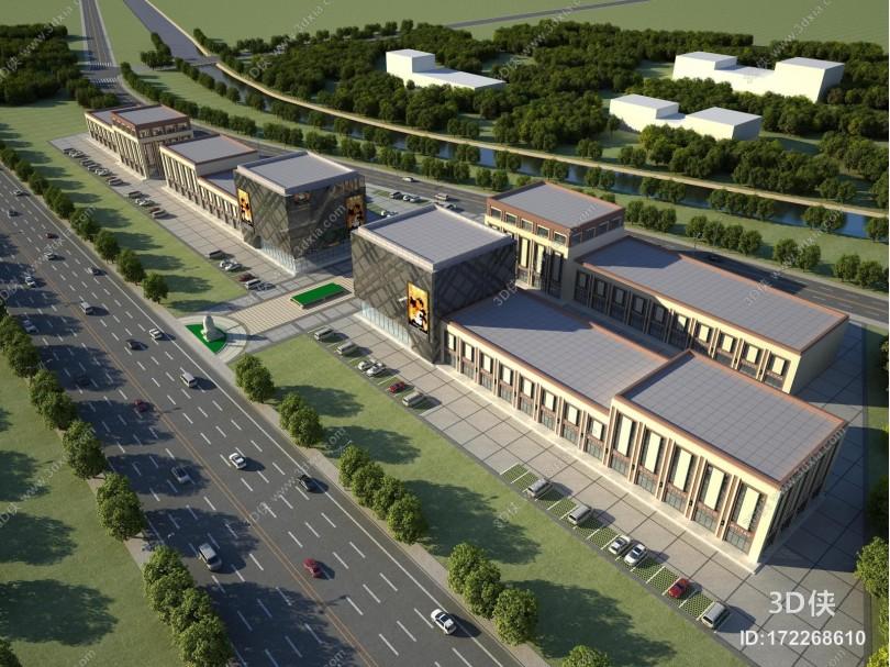 现代商业外观鸟瞰规划 商场