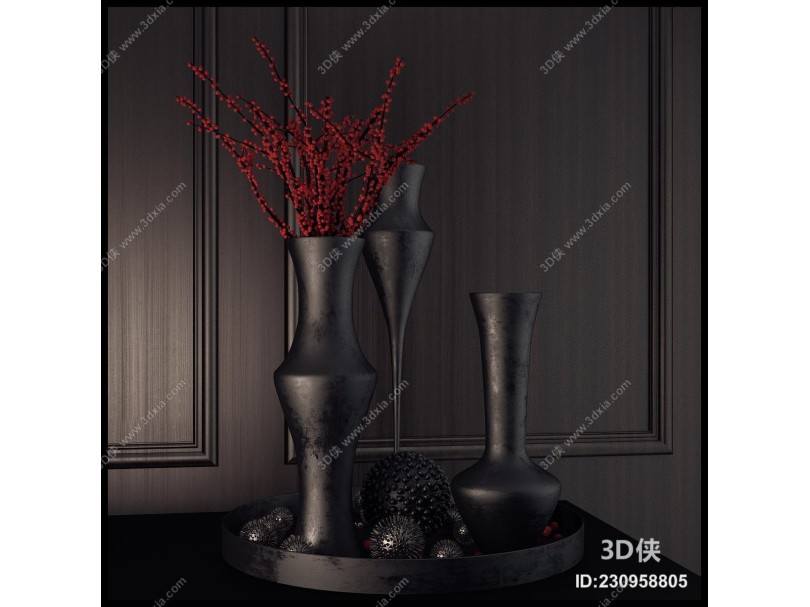 现代灰色调花瓶