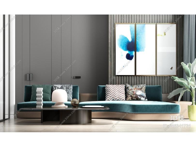 现代轻奢休闲绒布多人沙发茶几 饰品组合