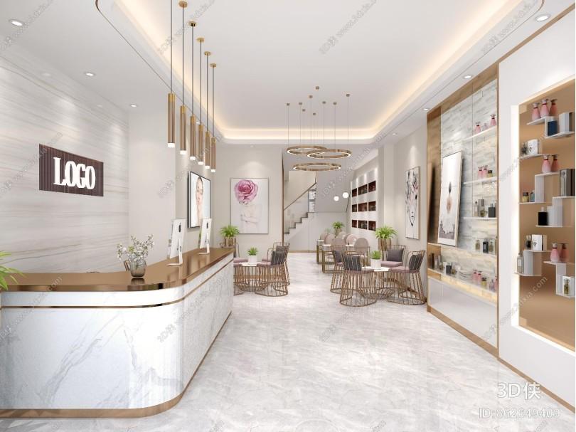 现代轻奢美容院 VIP包厢 化妆品展示柜