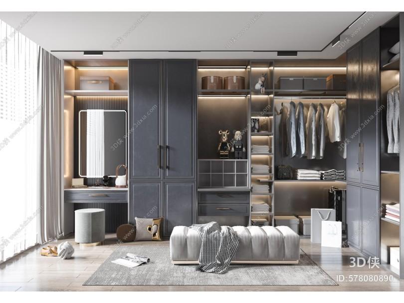 现代衣帽间 衣柜 卧室