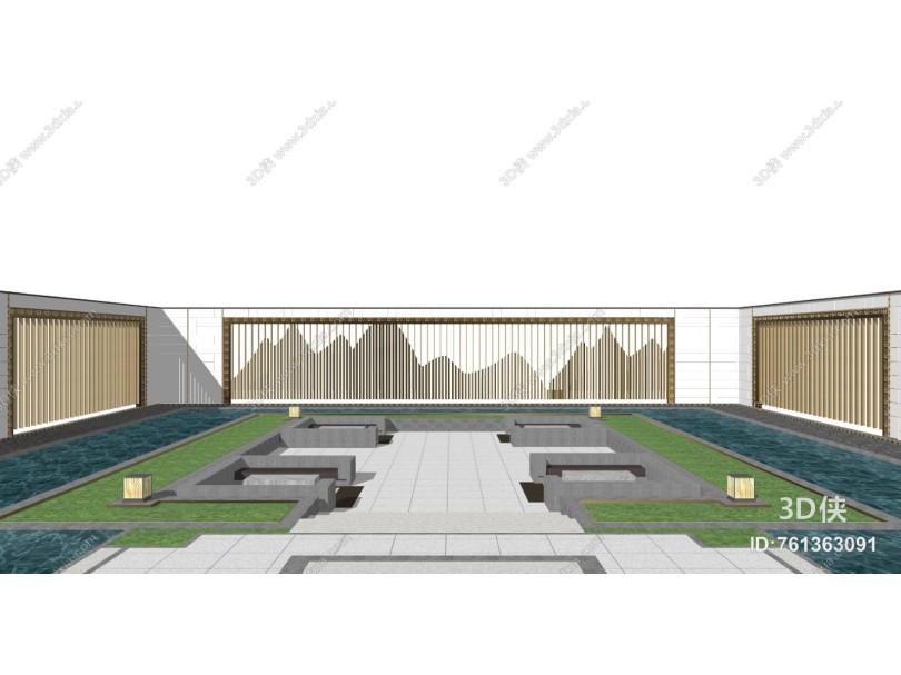 新中式庭院景观 景墙围墙