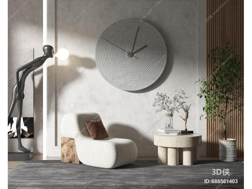 现代风单人沙发 边几组合 墙饰 雕塑