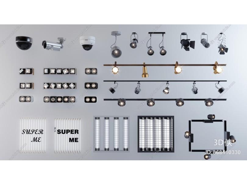 现代轨道射灯 筒灯 格栅灯
