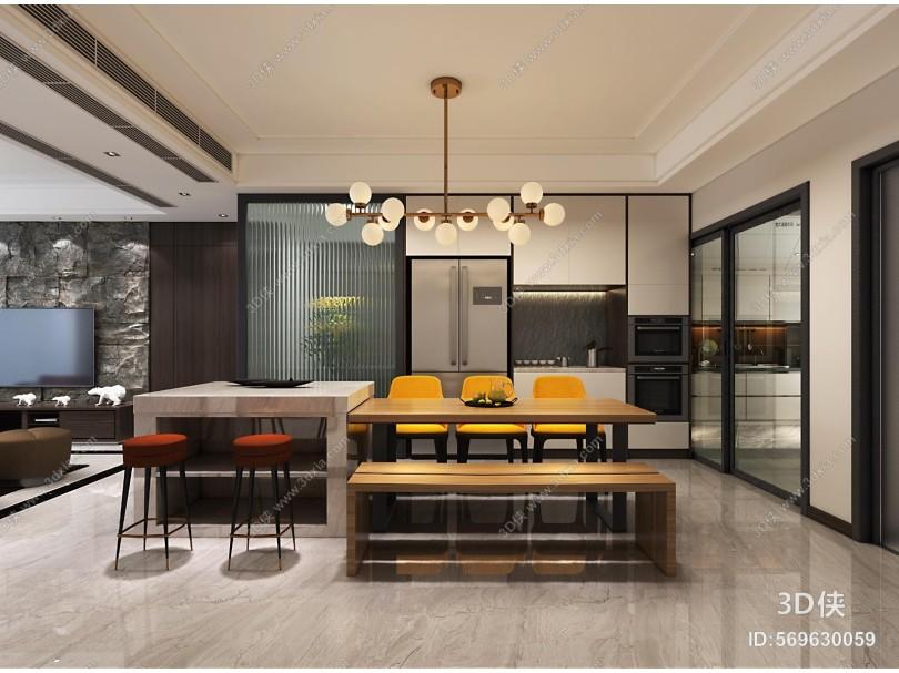 现代餐厅 餐桌椅组合 吊灯 玄关