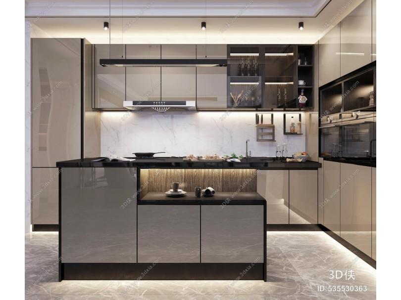 现代厨房 橱柜岛台