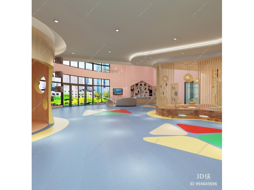 现代幼儿园大厅 吊灯 沙发