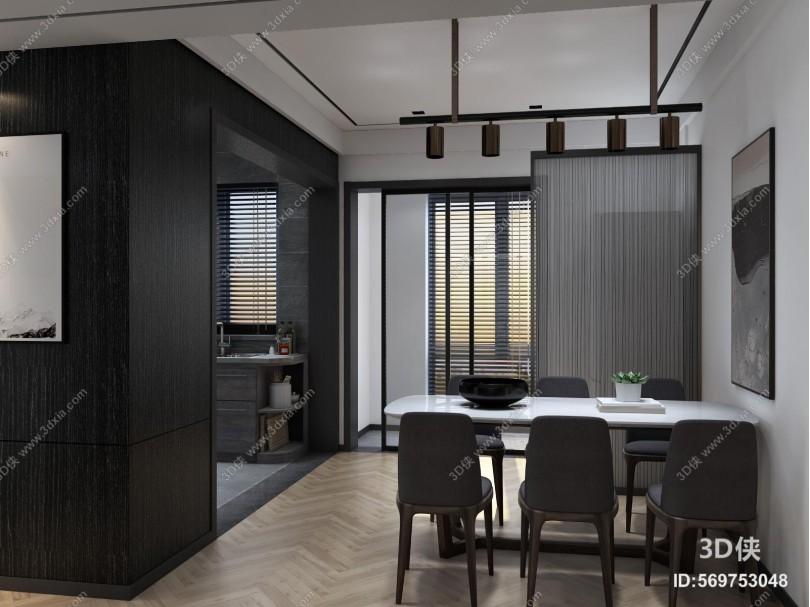 现代客厅 餐厅 木地板