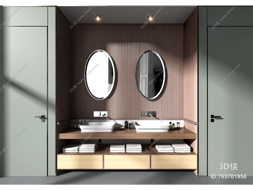 现代浴室台盆柜组合