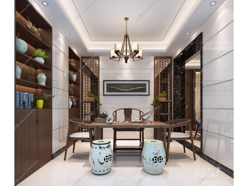 现代中式茶室 茶吧台 茶凳 柜子 吊灯 挂画