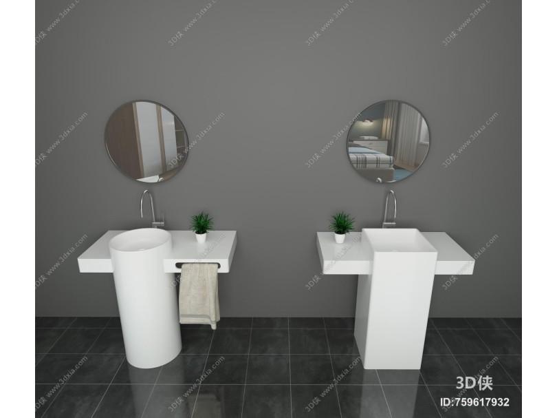 现代简约立柱洗手盆