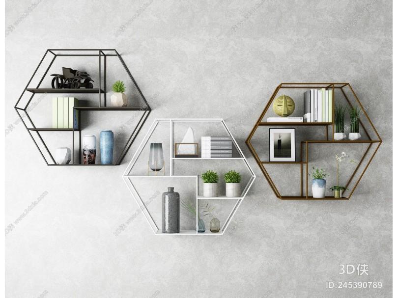 工业风壁柜 置物架组合 装饰品 摆件 墙饰书架