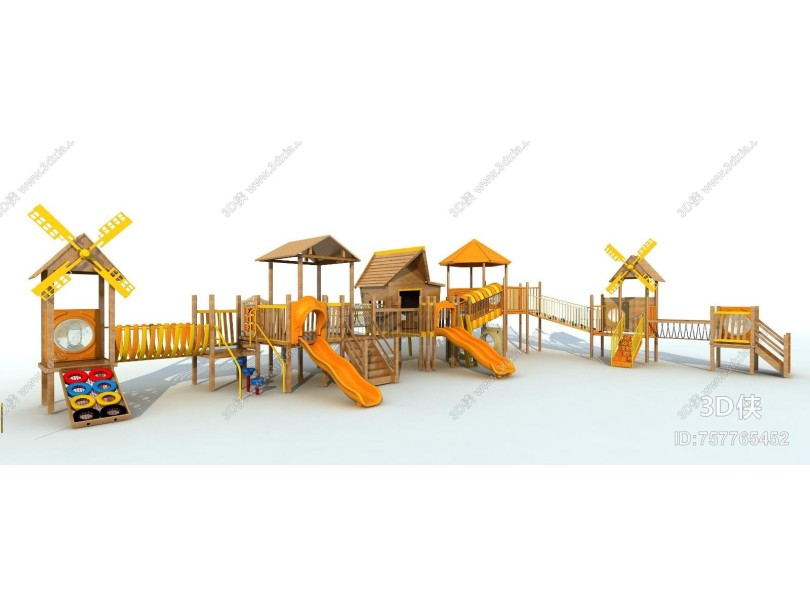 现代风格木质滑梯 儿童玩具 儿童设施