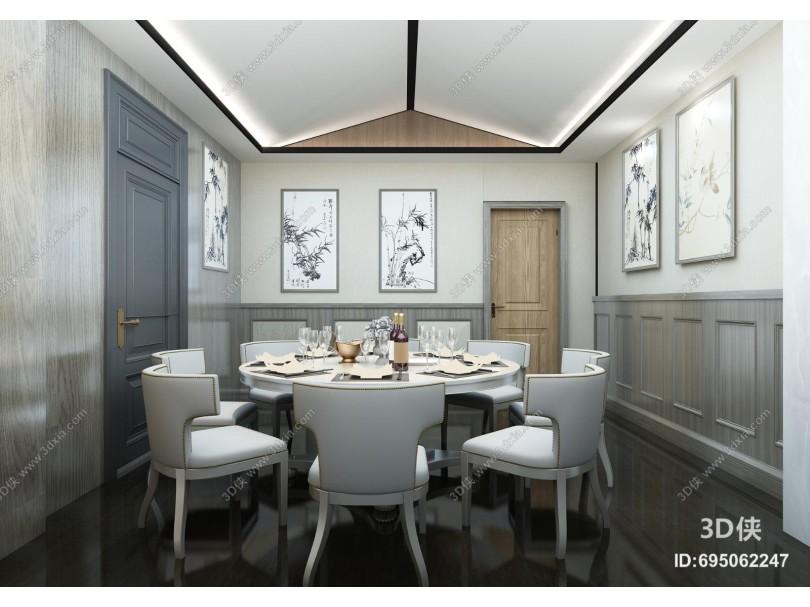 现代酒店餐饮 客房包间 酒桌