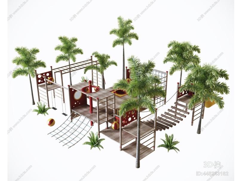 现代户外儿童游乐园 玩具 棕树植物组合