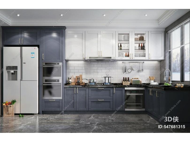 北欧风格厨房 橱柜 厨房用品摆件 冰箱