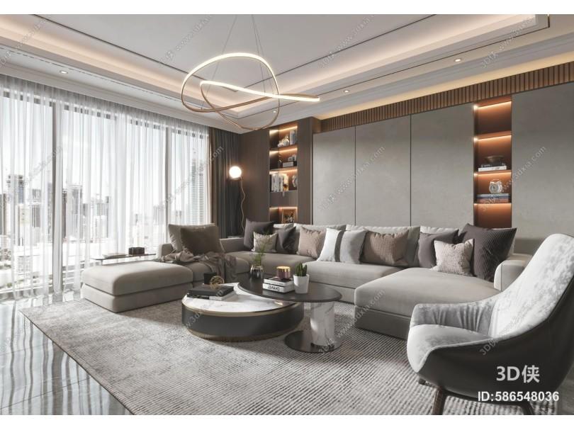 现代客厅 沙发 吊灯 装饰画