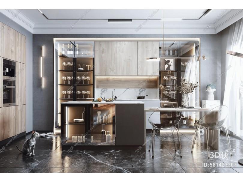 现代风格厨房 餐厅 装饰柜