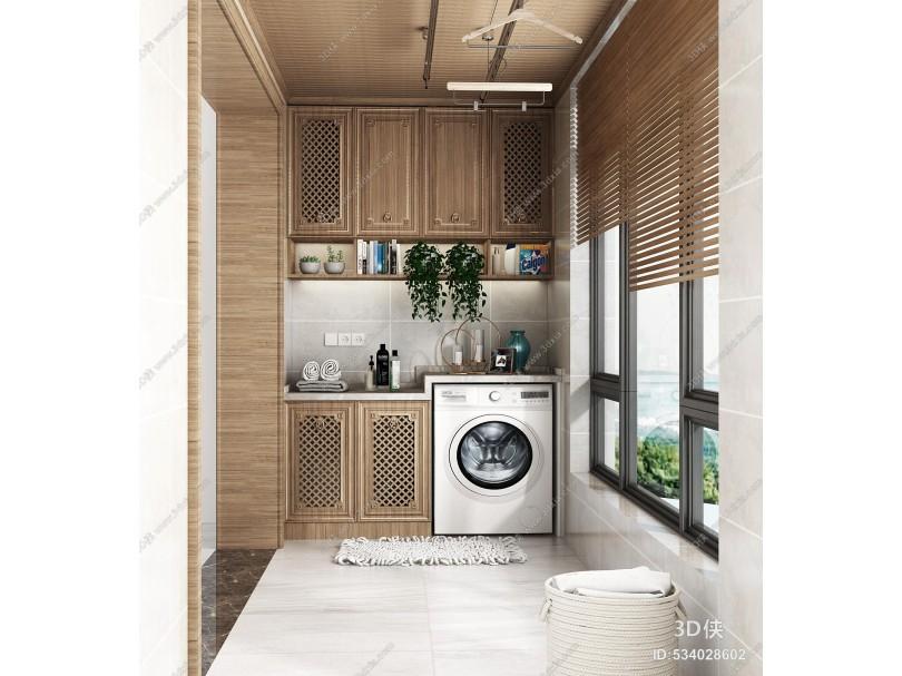 新中式阳台洗衣机橱柜