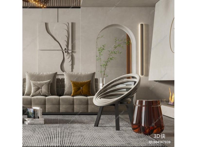现代侘寂客厅