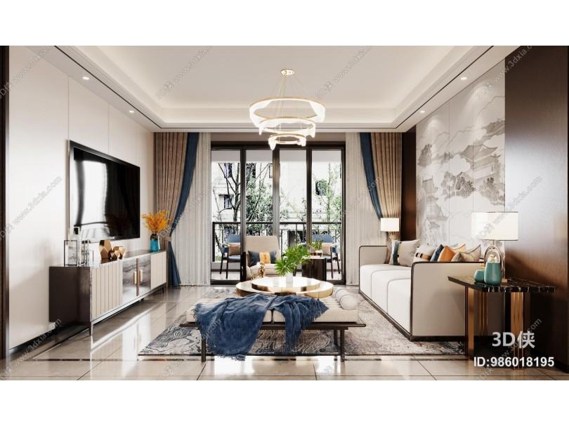 新中式客餐厅 茶几 沙发