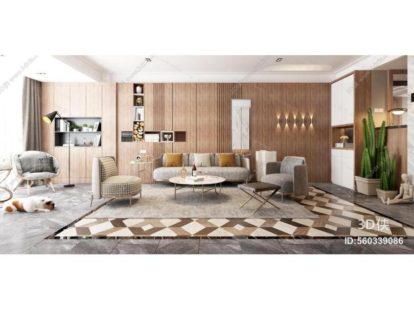 现代客餐厅 沙发 茶几 地毯 电视背景墙 电视柜 吊灯 窗帘 茶边几