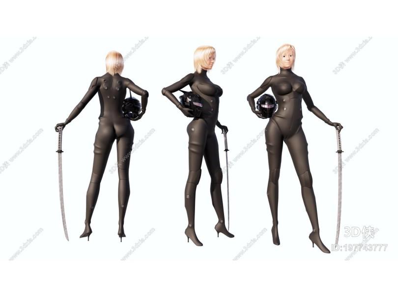 现代黑衣女击剑手