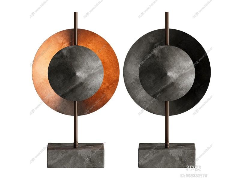 现代圆形金属台灯