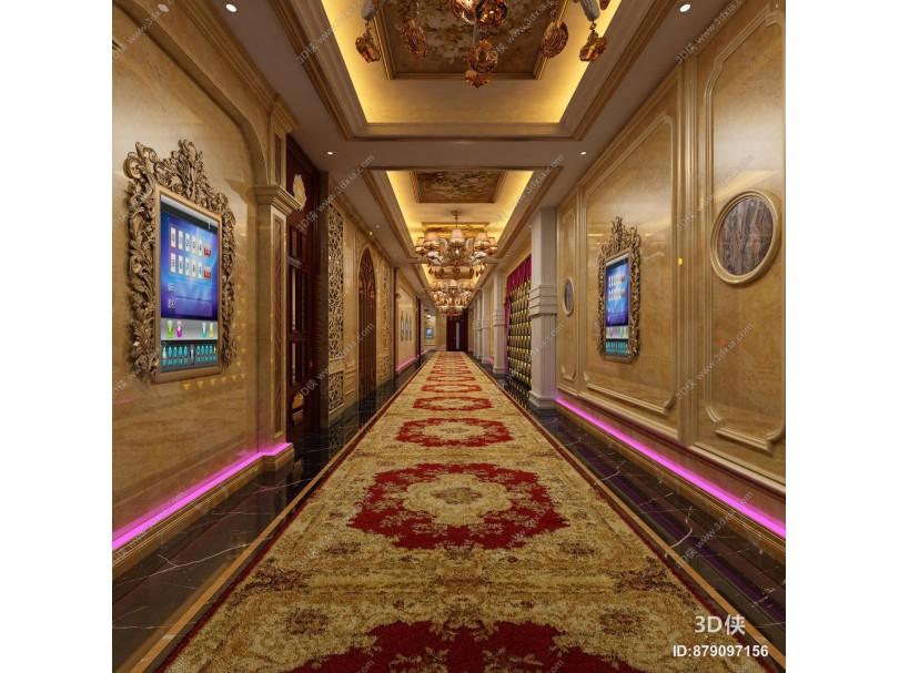 欧式KTV走道 过道 走廊 休闲娱乐 舞厅 歌厅 酒吧 吊灯 会所