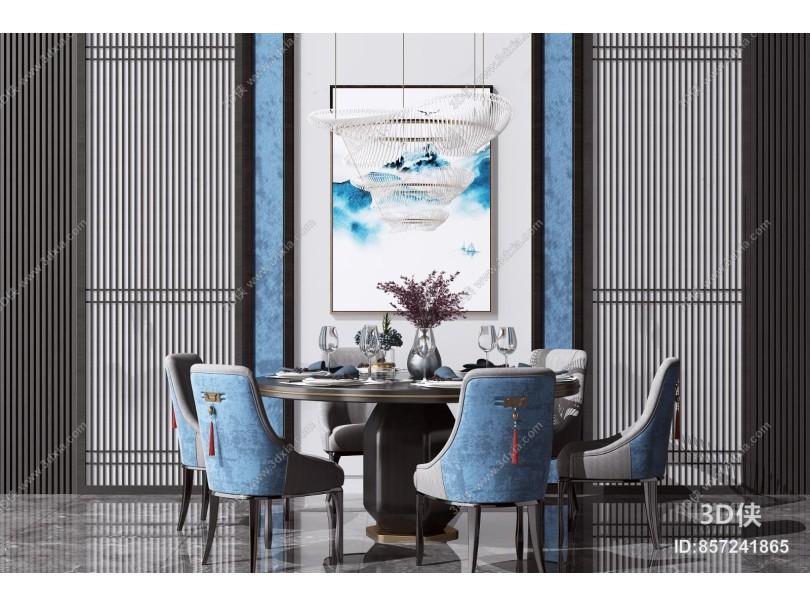 新中式圆形餐桌椅组合