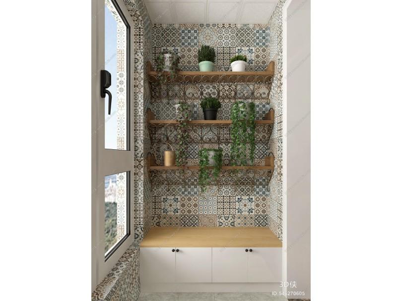 北欧绿植盆栽柜子组合