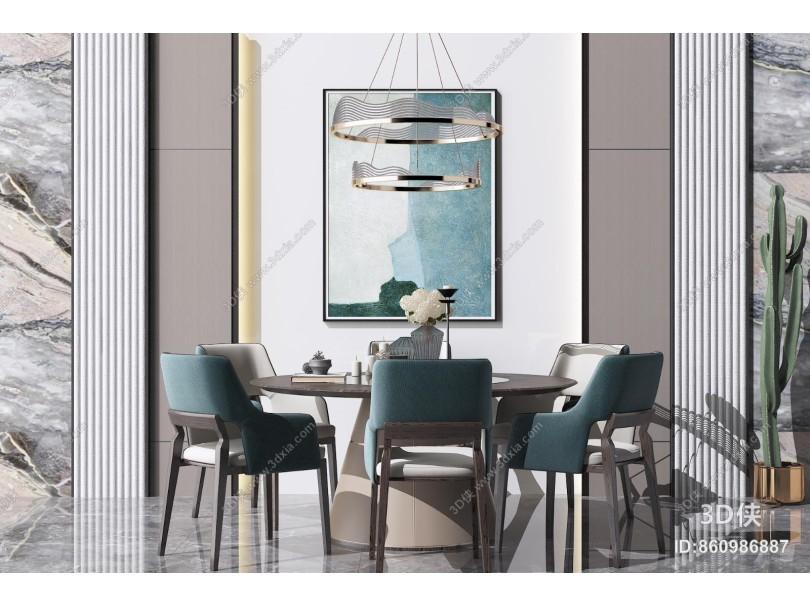 新中式风格餐桌椅 金属吊灯 装饰挂画