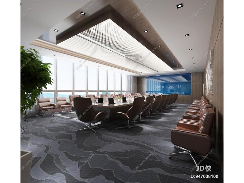 现代大会议室 投影仪 会议桌椅