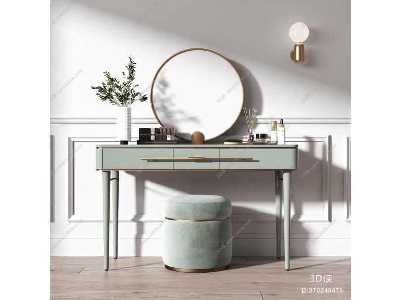 现代梳妆台 矮凳